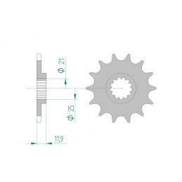 AFAM Front Sprocket 13 Teeth Steel Standard 520 Pitch Type 94314 VOR EN 400 Enduro