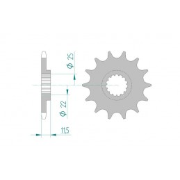 AFAM Front Sprocket 17 Teeth Steel Standard 520 Pitch Type 73303 KTM EXC 350 LC4