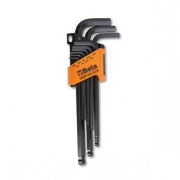 BETA Set of 9 Ball Head Offset Hexagon Key Wrenches 110° Extra Short Side