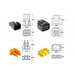 BIHR 6 plugs end set Connectors 090 FRKW OE Type - 5 sets