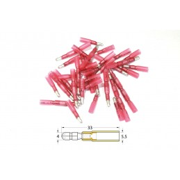 BIHR Female Heat-shrinkable Crimping Bullet Connector Ø0.5mm²/1.5mm² - 50pcs Transparent Red