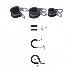 BIHR Cable Clamp Stainless Steel Thick Rubber Ø14,3mm 10 pieces