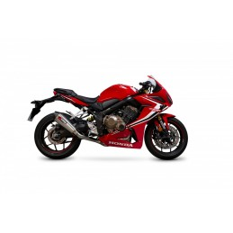 SCORPION Serket Taper Full Exhaust System Stainless Steel/Stainless Steel Muffler/Black ABS End Cap Honda CBR650R