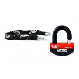 VECTOR Anti-theft Kit w/ Security Chain 1.10m + MiniMax+ Padlock/Disc Lock