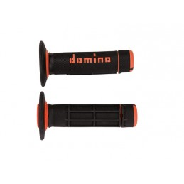 DOMINO A020 Cross Two-Colors Half-Waffle Grips Black/Orange