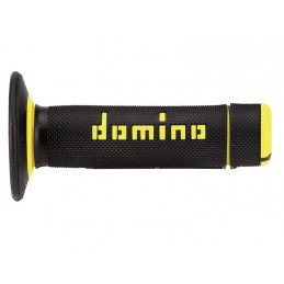DOMINO A020 Cross Two-Colors Half-Waffle Grips Black/Yellow