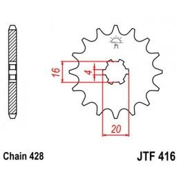 JT SPROCKETS Front Sprocket 13 Teeth Steel 428 Pitch Type 416