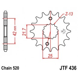 JT SPROCKETS Front Sprocket 14 Teeth Steel 520 Pitch Type 436