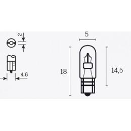 V PARTS T5 Signal Lamp 12V/1.2W Base W2X4.6D 10pcs