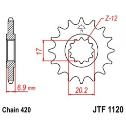 JT SPROCKETS Front Sprocket 11 Teeth Steel Standard 420 Pitch Type 1120