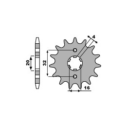 PBR Front Sprocket 14 Teeth Steel Standard 428 Pitch Type 2182 Yamaha YZF125R