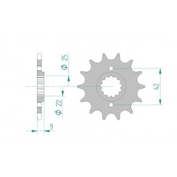 AFAM Front Sprocket 14 Teeth Steel Standard 520 Pitch Type 24502 Kawasaki EL 250